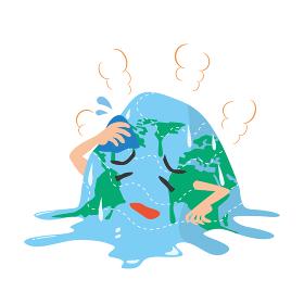 温暖化により融ける地球のキャラクター