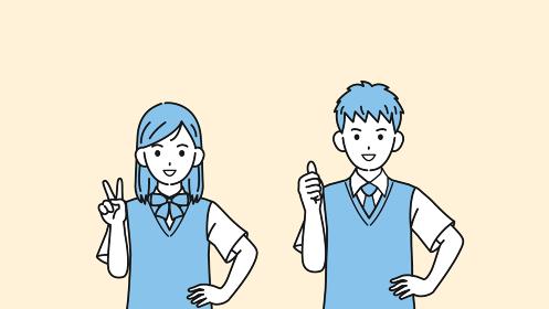 ピースをする 親指を立てる学生 中高生 高校生 中学生 男女 イラスト素材