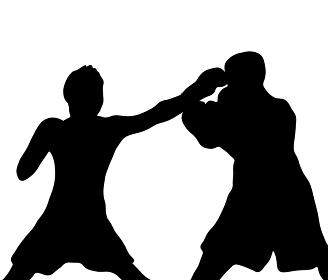 パンチをくりだすボクシングのシルエット