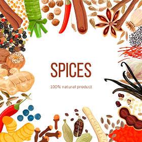 Ornament made of Spices with text 100 natural product