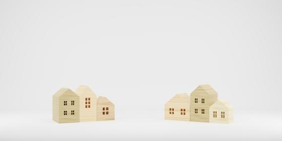 並んでいる積み木の家の3Dレンダー画像(プロシージャル素材を使用)
