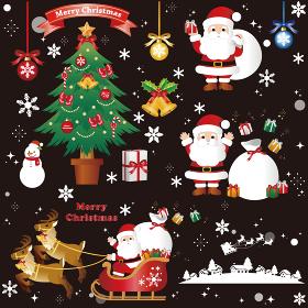 クリスマス サンタクロース イラスト素材セット