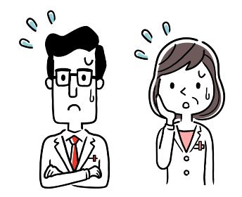 ベクター素材:困った表情の男性医師と女性医師