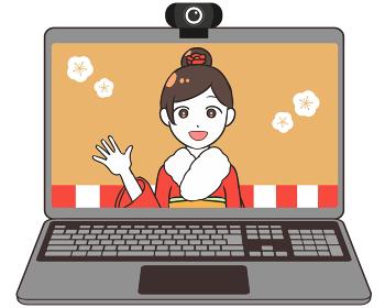 オンライン成人式 ノートパソコン 女性
