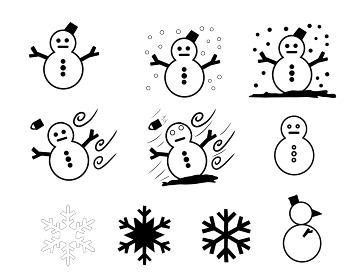 可愛い雪ダルマと雪の結晶のセット素材「黒色」