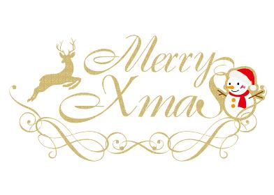 アールデコ調のメリークリスマスのロゴ 雪だるまとトナカイのイラスト