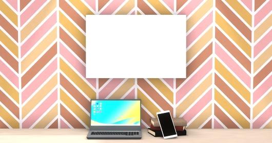 ヘリンボーン模様の部屋にノートパソコンとスマートフォンと本 3DCG ホワイトスペース