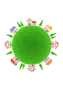 芝生の球体と家並み