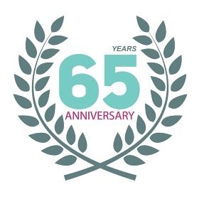 Template Logo 65 Anniversary in Laurel Wreath Vector Illustration EPS10. Template Logo 65 Anniversary in Laurel Wreath Vector Illustratio