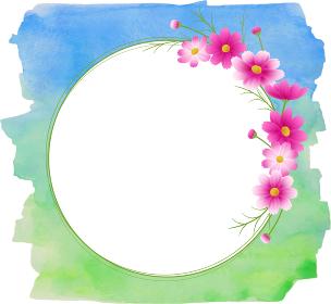 ピンクのグラデーションのコスモスの丸フレーム、リース、ブルーグリーンの水彩絵の具の背景、秋イメージ
