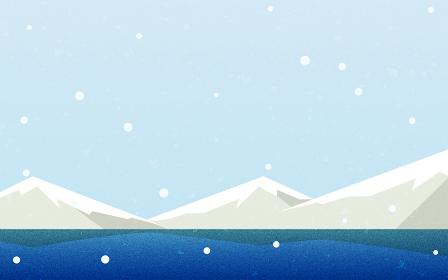 雪空と山と湖、自然の風景素材、レトロ風