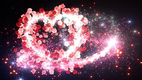 ハート バラ ミックス 花 フラワー キラキラ スパーク パーティクル 花火 3D イラスト 背景