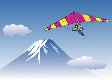 富士とパラグライダー