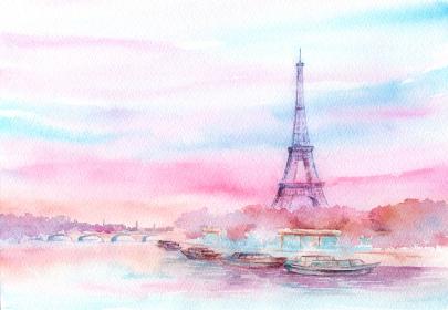 エッフェル塔の風景 水彩画
