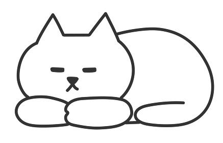 香箱座りで寝ている白猫 イラスト