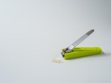切った爪と黄緑色の爪切り