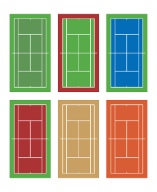 6種類のテニスコート