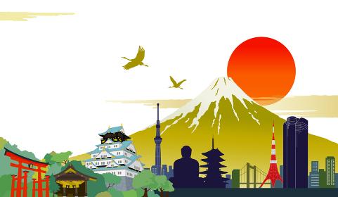 日本のシンボル ランドマークと富士山の風景