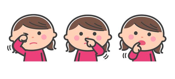 感染リスク/顔(目、鼻、口)を手で触る女の子/線あり