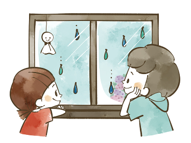 雨の日に窓の外を眺める子どもたち 水彩