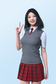ライトブルーバックにピースサインをするグレーのベストを着た笑顔の女子高生