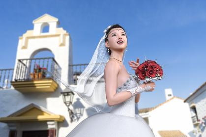 チャペルの外で青空の下純白のウエディングドレスを着た花嫁が赤い花のブーケトスをする
