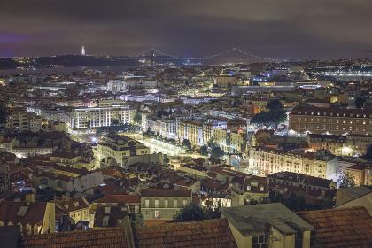 skyline of lisbon in the night
