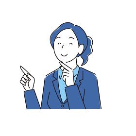 指さし 笑顔の女性 スーツ姿 程よいシンプルなイラスト ベクター