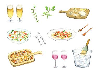 ホームパーティー ビールとワインと料理 水彩イラスト