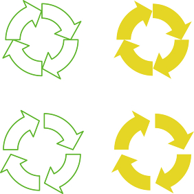 円状に並んだ線で描かれた矢印イラスト(カラー/ライン)