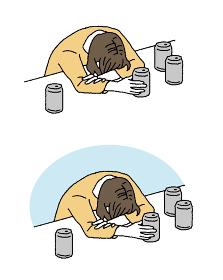 シンプルなタッチ 泥酔して眠る女性のイラストレーション