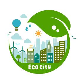 エコ・エコロジー・自然・環境保護に配慮した都市生活イメージ イラスト