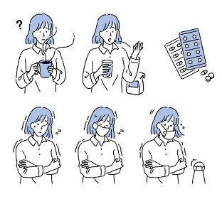 シンプルなタッチ 風邪を引いた女性のイラストセット