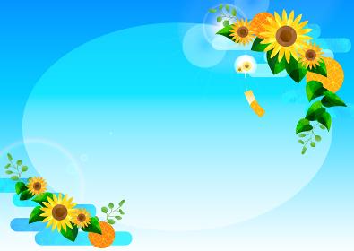 Japanese-sunflower-Frame-ひまわりと青空と風鈴の楕円フレーム