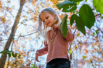 Little girl playing in forest on a fall day