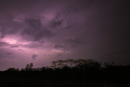 View of lightning in the sky at night