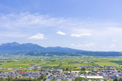 中富良野の町と十勝連峰
