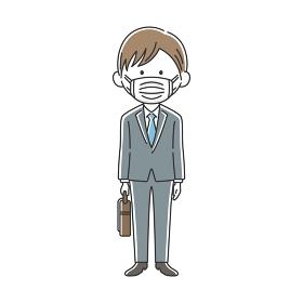 鞄を持ったマスクをした日本人ビジネスマン
