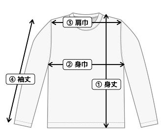 長袖Tシャツ・ロンT 寸法表・サイズ表用イメージイラスト