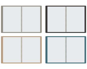 ダブルリングのノートのイラスト素材 ノートセット メモ 紙 文房具 事務用品 ベクター