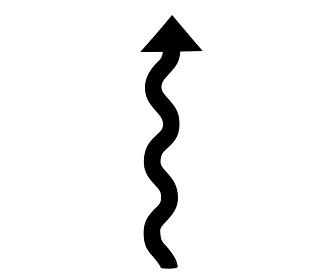 クネクネ道のカーブをイメージした矢印のシルエット