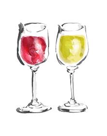 和風手描きイラスト素材 炭酸水 ソーダ水 グラスワイン 赤白