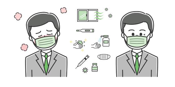 熱が出て具合が悪い会社員 イラスト