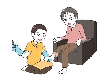 高齢女性のフットケア 男性介護士