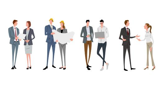 イラスト素材:ビジネスシーン、会話、コミュニケーション