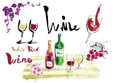 ワイン関連のワインボトルやグラスワインやぶどうや文字などのセット