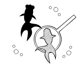 夏祭りイラスト素材 金魚すくい(モノクロ)