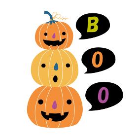 3つ重なったハロウィンのカボチャがboo(ばあっ)と言っているイラスト