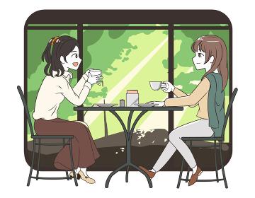 カフェで友達と過ごす女性 森林窓枠付き