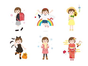 小学生 女の子 四季イベント かわいいイラスト